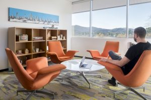 Office orange sitting chairs