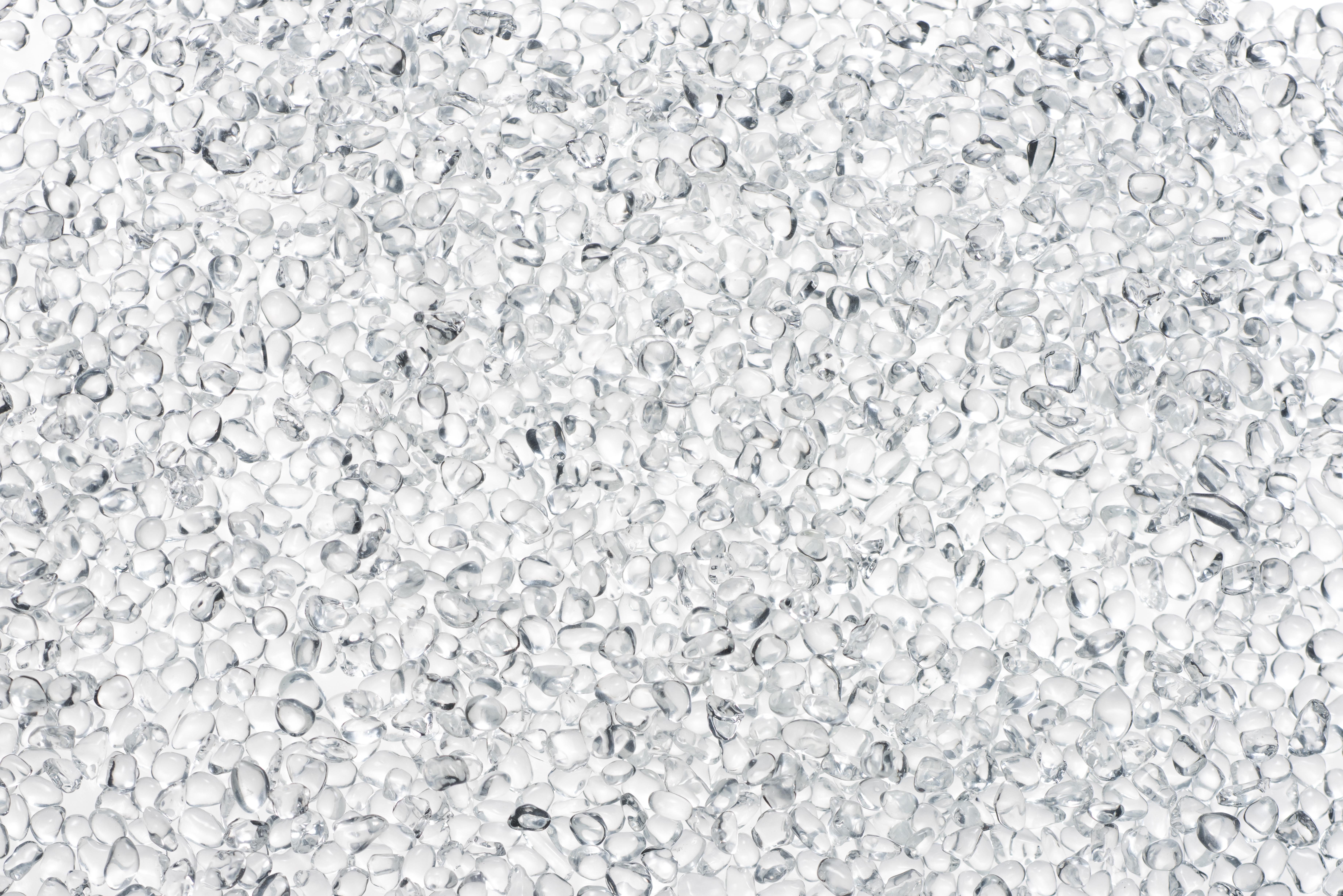 Transparent granules.