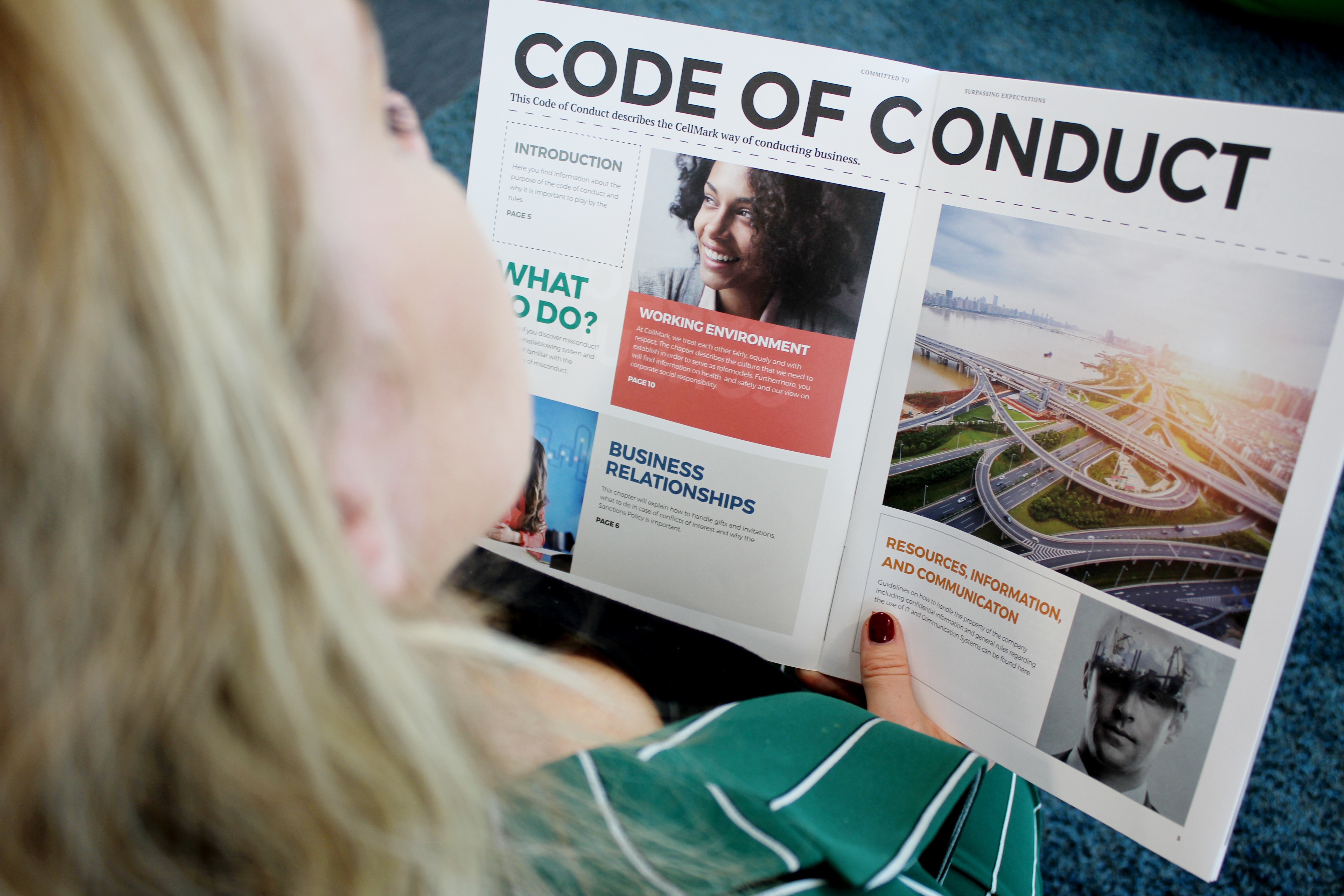blond woman reading cellmark code of conduct