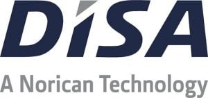 black and grey DISA logo