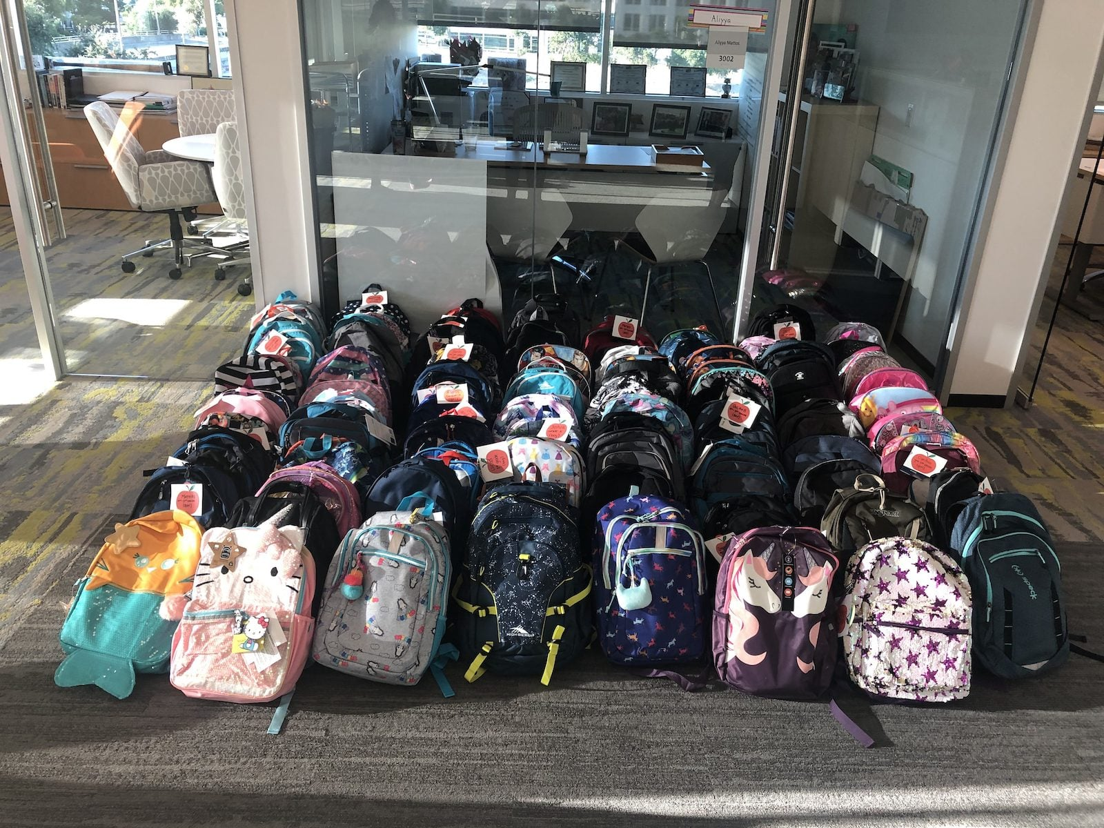 a collection of school backpacks