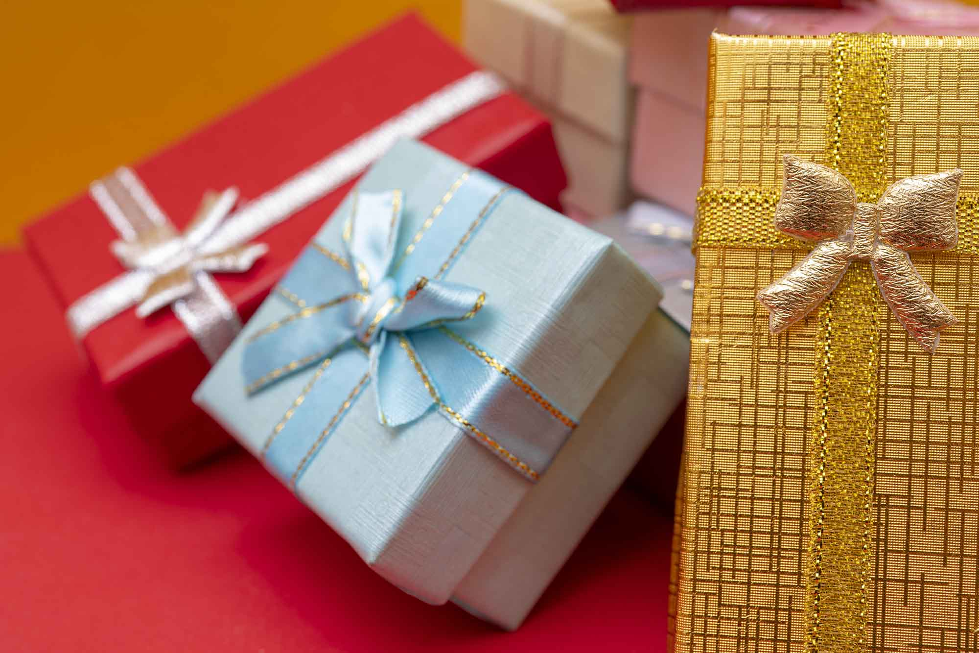 colorful gift boxes with glow
