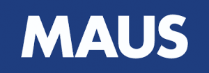 blue and white maus logo