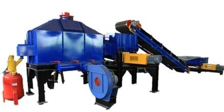 blue, yellow and red primary reclamation machine