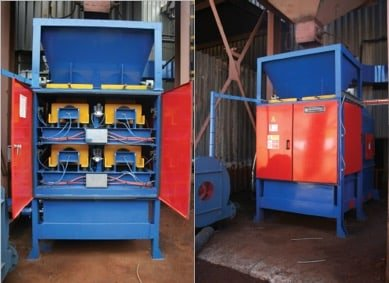 blue and red secondary reclamation machines