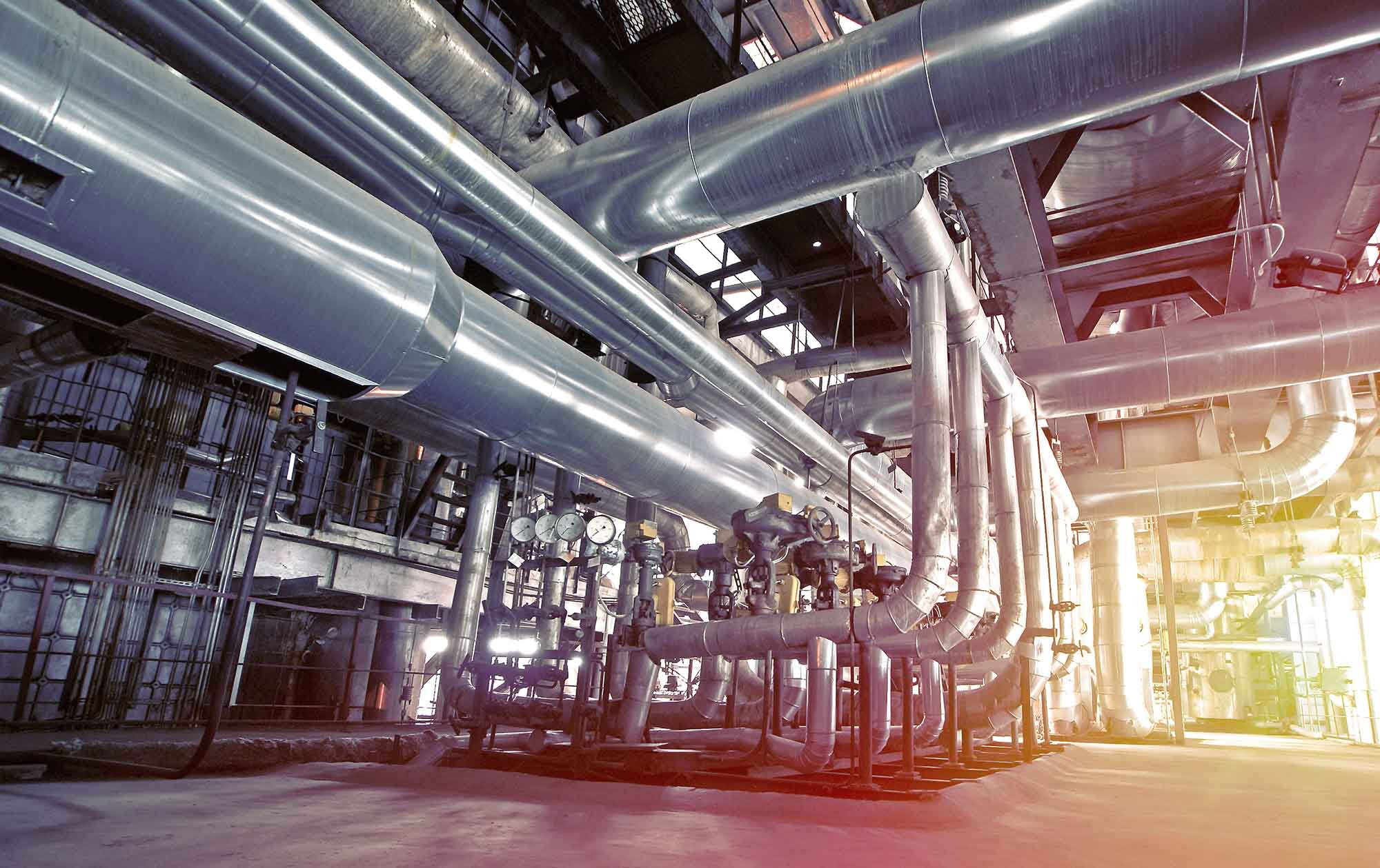 Industrial zone steel pipelines and equipment