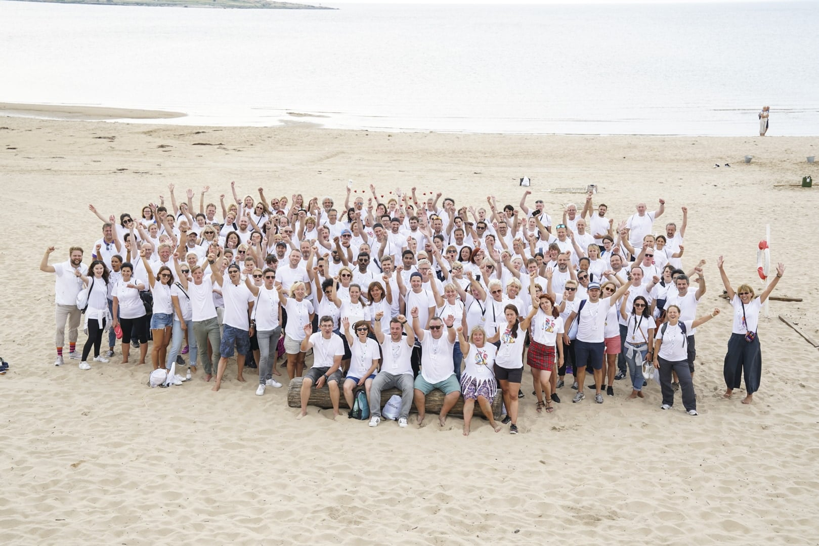 cellmark group photo on a beach