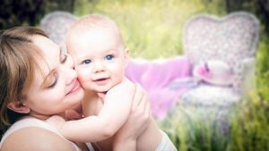 Mother with baby. Magnafolate is a form of folate, which is an ingredient of prenatal vitamins.