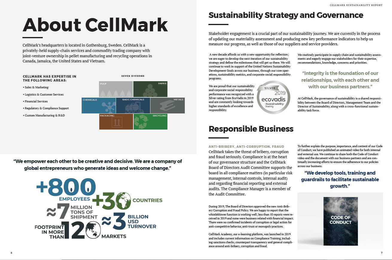 a spread of cellmark sustainability report 2019