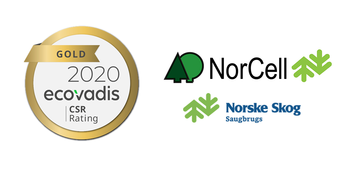 ecovadis gold symbol and norcell and norske skog logo