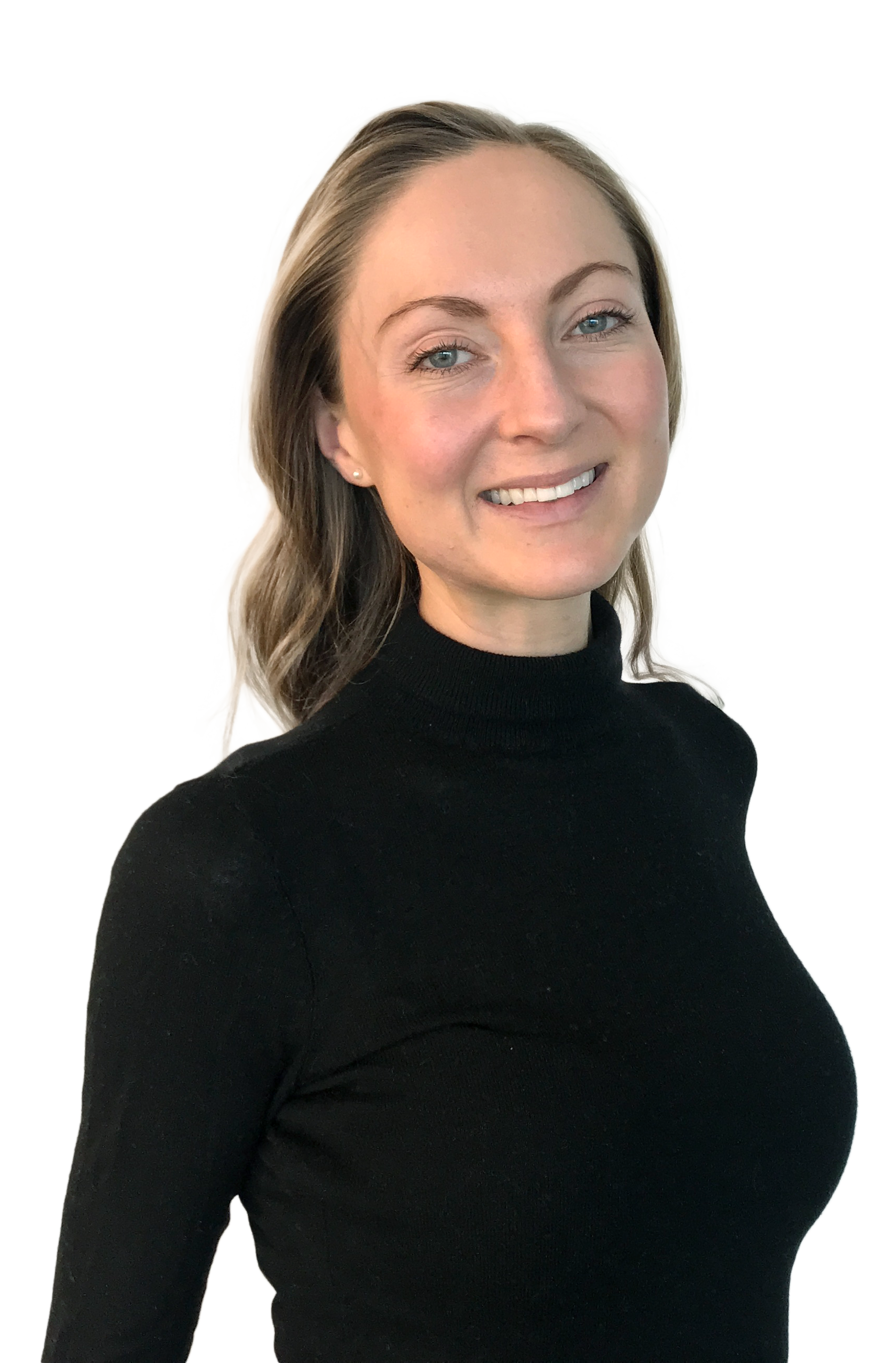 smiling woman in black polo shirt